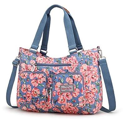 Amazon.com  New Fashion Handbags Nylon Flowers Shoulder Crossbody Bags  Women bag Floral soft small bag Messenger Bags Casual Tote Color 6  Shoes cb34f1dc07d5f