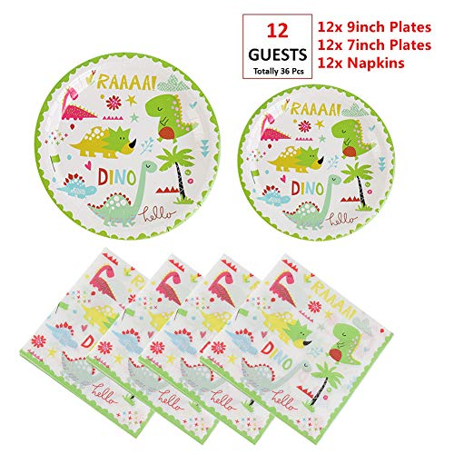 EXIJA Dinosaur Party Supplies Set, 12 9inch Dinner Plates+12 7inch Dessert Plates+12 Napkins, Dinosaur Party Plates and Napkins for Birthday Boys Girls,Serves 12