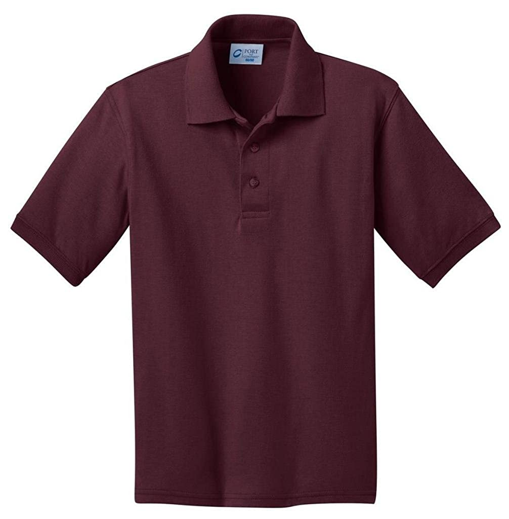 Port /& Company Youth Comfortable Rib Knit Collar Polo Shirt/_Athletic Marn/_Large