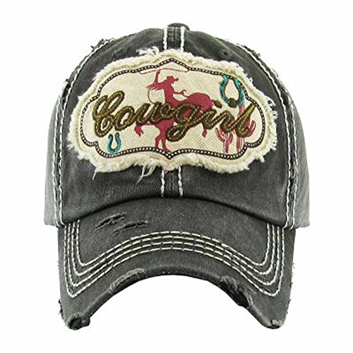 Kbethos Trading Women's Cowgirl Distressed Vintage Baseball Hat (Black)