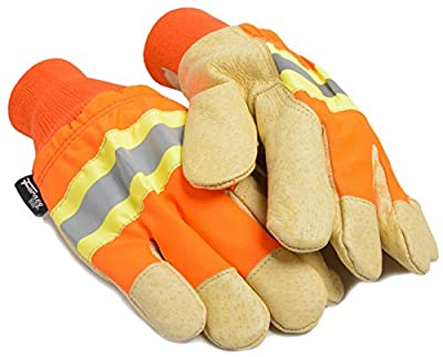 Forney 53165 Lined Premium Pigskin Work Glove High Visibility, X-Large, Orange and Yellow
