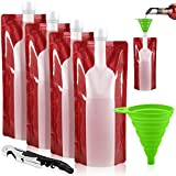 Foldable Wine Bag, 750 ml, Portable Reusable Plastic Wine Bottle Pouch, SENHAI 4 Pack Collapsible Liquid Leak Proof Flask Holder for Wine Liquor Beverages, Travel, Gift - Red