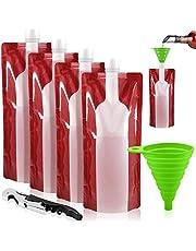Foldable Wine Bag, 750 ml, Portable Reusable Plastic Wine Bottle Pouch, SENHAI 4 Pack Collapsible Liquid Leak Proof Flask Holder for Wine Liquor Beverages, Travel, Gift - Red