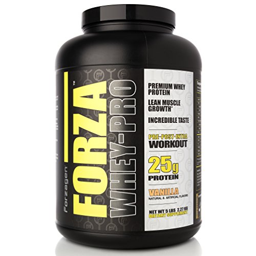FORZAGEN Forza Whey-Pro 100% Premium 5 lbs Whey Protein, 25g Protein, 63 Servings - Vanilla | Great Tasting, Build Mass and Gain Strength | Supports Muscle Development | Get More Energy and Bulk up ()