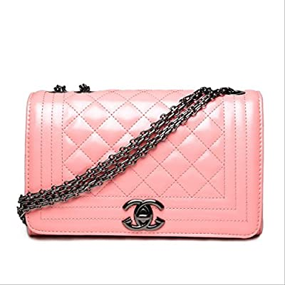 Weizhi Sac à bandoulière épaule unique, nouvelle chaîne Rhombus, sac de mode Européens et Américains,Sac à bandoulière rose de tungstène