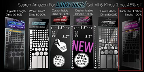 LightDims Black Out Edition - Light Blocking LED Covers/Light Dimming Sheets for Routers, Electronics and Appliances and More. Blocks 100% of Light, in Retail Packaging.
