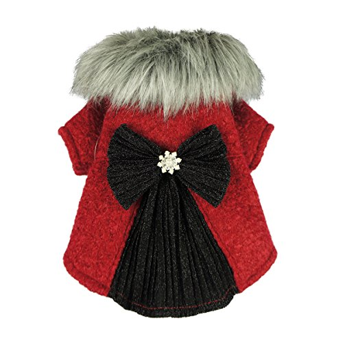 Red Dog Coats Clothes (Fitwarm Faux Furred Pet Clothes for Dog Winter Coats Cat Jackets Red XS)