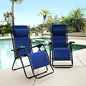 Outdoor Deck Lounger Adjustable New Metal Frame, Blue Patio Chaise Sofa Beach Lounger 2-Pack & E-Book