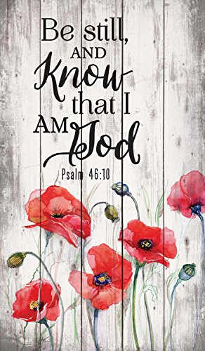 Be Still and Know that I am God Red Poppies 24 x 14 Wood Pallet Wall Art Sign Plaque