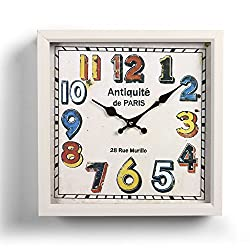 Adeco CK0091 Off White Decorative Dial Vintage Retro Traditional Child Kid Juvenile Wall Hanging Square Iron Clock, Arabic Numerals, White