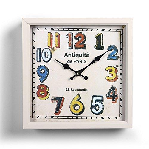 Adeco CK0091 Off White Decorative Dial Vintage Retro Traditional Child Kid Juvenile Wall Hanging Square Iron Clock, Arabic Numerals, - Arabic Clock Square