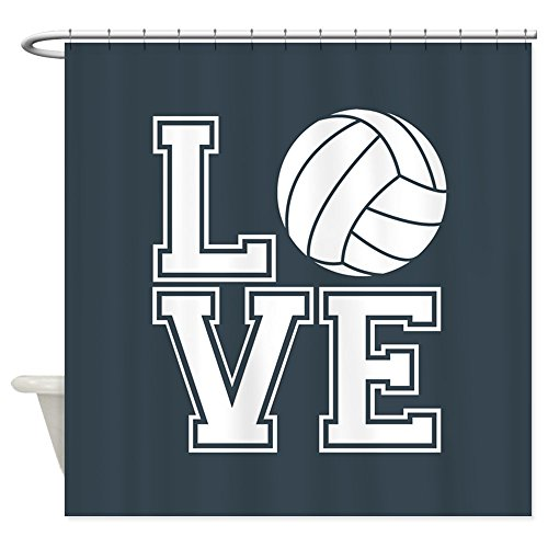 CafePress - Love Volleyball, Charcoal Gray, Square Shower Curt - Decorative Fabric Shower Curtain (69