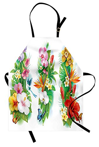 Ambesonne Watercolor Flower Apron, Tropical Christmas Bouquet