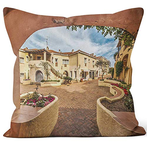 """Nine City Arch in Porto Cervo Home Decor Throw Pillow Cover Cotton Linen Cushion,HD Printing for Couch Sofa Bedroom Livingroom Kitchen Car,40"""" W by 40"""" L"""