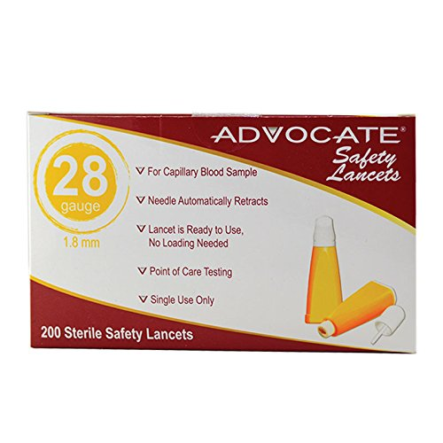 Advocate Safety Lancets 28G x 1.8mm 200/bx 20bx/cs, Case of 20