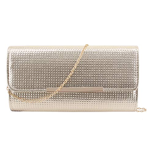 Evening Chain Gold Purse 01023 Dazzling Detachable Wedding Bag Naimo Womens with Bag Shiny for Clutch Party 61qTvxXw