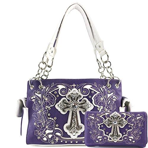 Purple Set Cross (Justin West Embroidery Floral Glitter Bling Rhinestone Cross Shoulder Concealed Carry Handbag Purse Trifold Wallet (Purple Handbag Wallet Set))