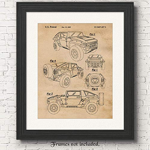 Original Hummer Jeep Concept Patent Poster Print - Set of 1 (One 11x14) Unframed Picture - Great Wall Art Decor Gifts Under $15 for Home, Office, Garage, Man Cave, Student, Teacher, American 4x4 Fan