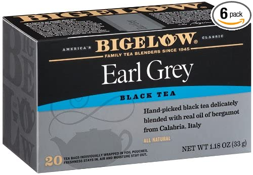 Bigelow Earl Grey Black Tea, 20-Count Boxes (Pack of 6)