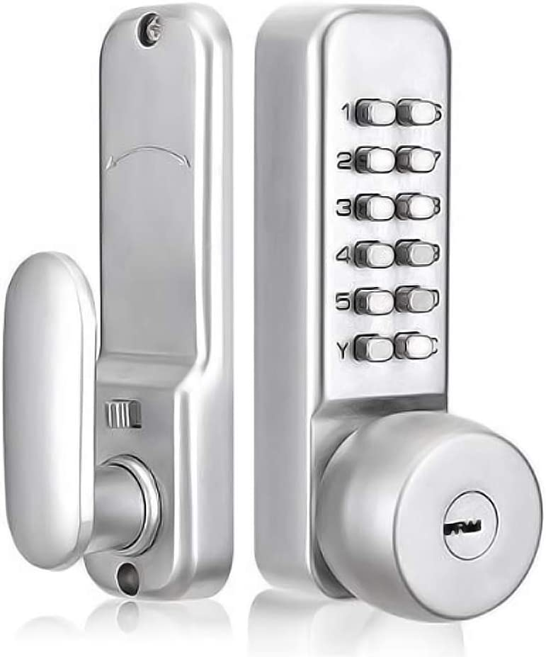 """SPOTACT Mechanical Combination Door Lock with Keys,Password Key Dual Use Digital Code Safety Entry Gate Home/Hotel/Office Not Deadbolt (2-3/8"""" or 2-6/8'') Latch) Satin Chrome Process"""
