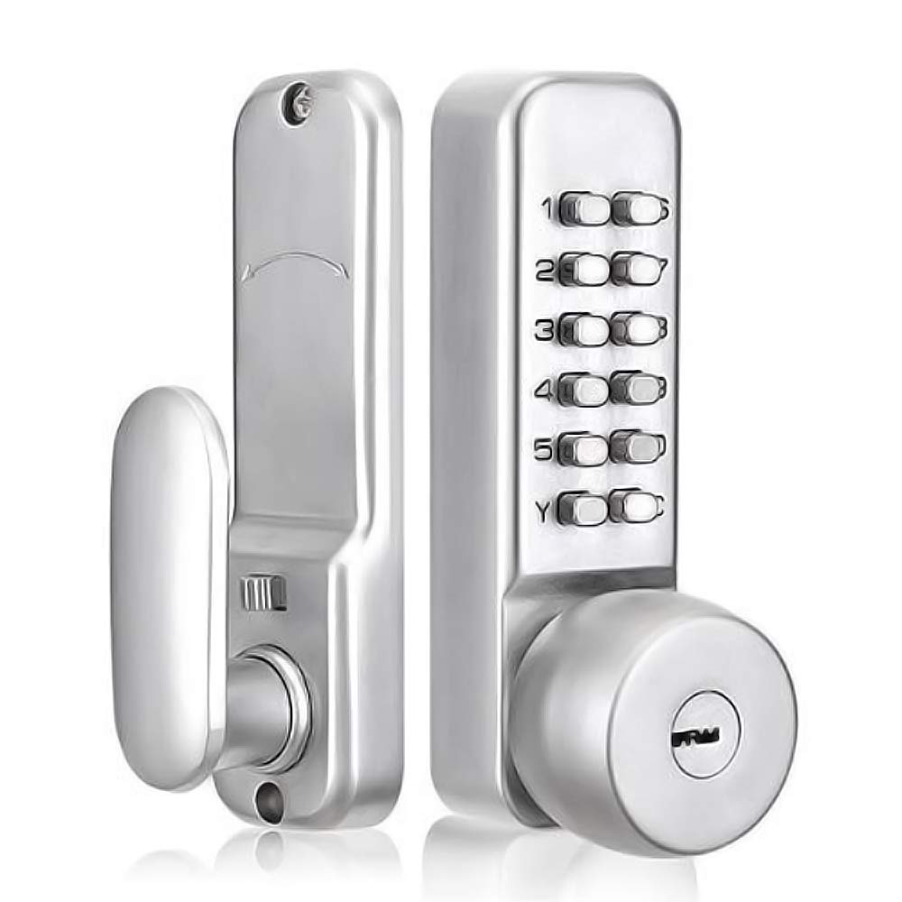 SPOTACT Mechanical Combination Door Lock with Keys, Password Key Dual Use Digital Code Safety Entry Gate Home/Hotel/Office Not Deadbolt (2-3/8''(60mm) Latch) Satin Chrome Process