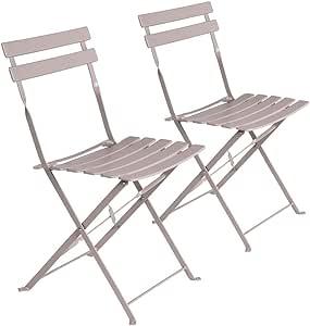 LOLAhome Set de 2 sillas de jardín Plegables con láminas Curvas de Acero de 80x46x41 cm (Gris): Amazon.es: Jardín