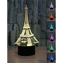 YiFoCus 3D Optical Illusion Night Light 7 Colors Changing,Touch Button Amazing Creative Design LED Table Lamps (Multi-Eiffel Tower)