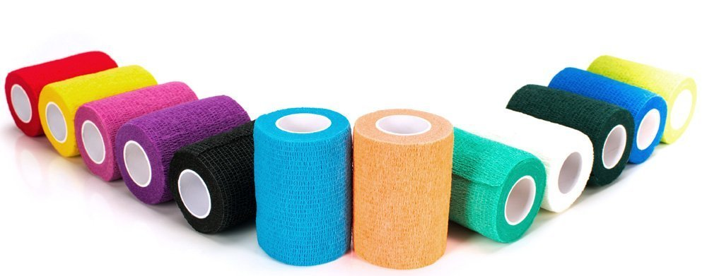 auto aderente impermeabile fasciatura colori assortiti 10,2/cm, 12/pezzi Garza elastica coesiva da veterinario