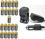Ultimate Arms Gear 21pc CR123A 3V 1200 mAh Lithium Rechargeable Batteries Battery Charger Kit Universal 110/220V Rapid Wall Outlet & 12V Car Lighter Plug Adapter FAB DEFENCE DEFENSE Flashlight
