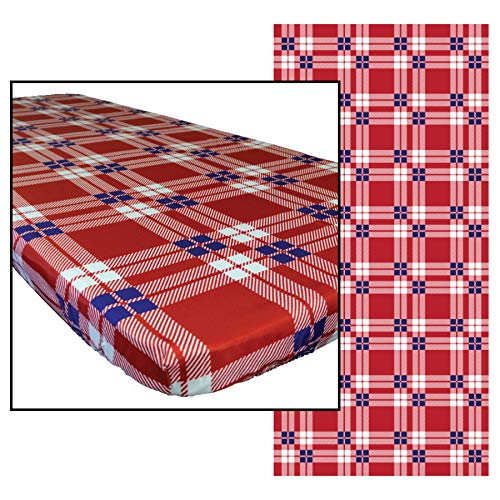(In the Breeze 8102 Plaid 36 Inch x 96 Inch Fitted Tablecloth, 36in x 96in (8ft),)