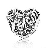 Romántico Amor Fit Pandora Bracelet Women's Motherly Heart Love Charm, Silver