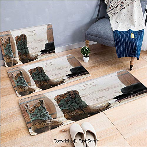 3 Piece Non Slip Flannel Door Mat Cutouts With Black Cowboy Hat Infront of a Rustic Barrel and Background Racing Event Indoor Carpet for bath Kitchen(W15.7xL23.6 by W19.6xL31.5 by W35.4xL62.9) ()