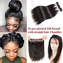 Ossilee Hair Brazilian Virgin Hair Straight Pre Plucked 360 Lace Frontal with Bundles 10A Brazilian Straight Hair 360 Lace Frontal Closure with Bundles