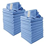 Microfibre Cleaning Cloths, 20 Pack, Blue, Soft Microfibre Dusters, Machine Washable, Lint-Free