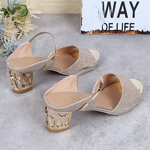 col morbido sandali peep PU mid casual toe tacco Scarpe heeled spessi qwO5In
