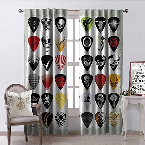 (GloriaJohnson Rock Music Heat Insulation Curtain Guitar Picks Various Designs Skulls Crosses Stripes and Stars Rockstar Lifestyle for Living Room or Bedroom W52 x L54 Inch Multicolor)