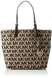 MICHAEL Michael Kors E/W Signature Tote Bag,Black/Beige/Black,One size