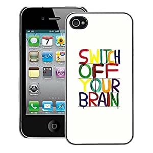 A-type Arte & diseño plástico duro Fundas Cover Cubre Hard Case Cover para iPhone 4 / 4S (Brain Motivational Relax Meditation)