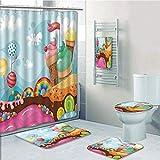 Bathroom 5 Piece Set shower curtain 3d print Multi Style,Ice Cream Decor,Dessert Land with Rainbow Candies Lollipop Trees Cupcake Mountains Cartoon Decorative,Multicolor,Bath Mat,Bathroom Carpet Rug,N
