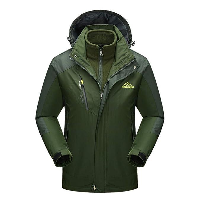 88b270ee2767e Softshell Jacket para Hombre 3 En 1 Chaquetas Impermeables Fleece A Prueba  De Viento Cálido Abrigo