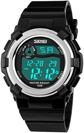 Kids Digital Sports Watch Dual Time Chrono Alarm Backlight Military Wrist Watch for Boys Girls Black