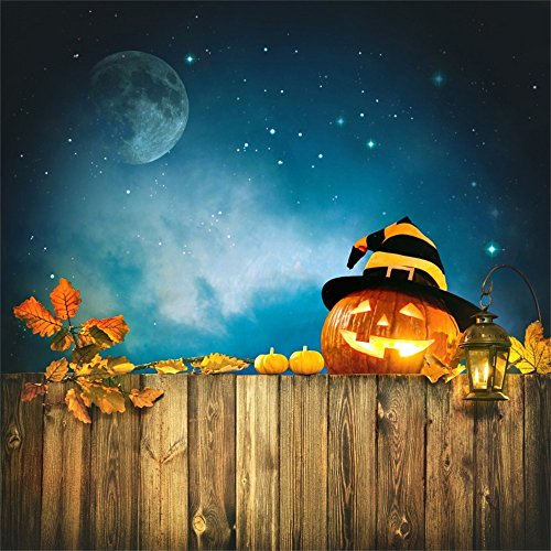 Leowefowa 5X5FT Halloween Backdrop Scary Pumpkin Lamp Backdrops for Photography Starry Night Retro Wood Fence Polyester Photo Background Kids Baby Costume Party Studio Props ()