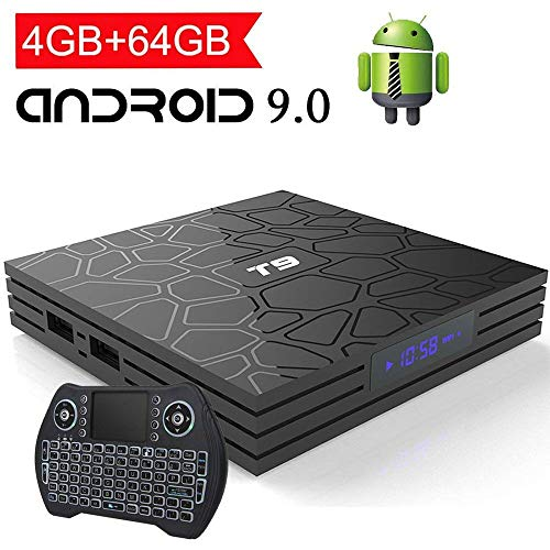 EASYTONE Android 9.0 TV Box 4GB RAM 64GB ROM,Quad Core/ 64 Bits/ BT4.0/ H.265/ 3D UHD 4K Smart Box,Support 2.4G/5G Dual Wifi/100M LAN Android Boxes with Wireless Backlit Keyboard