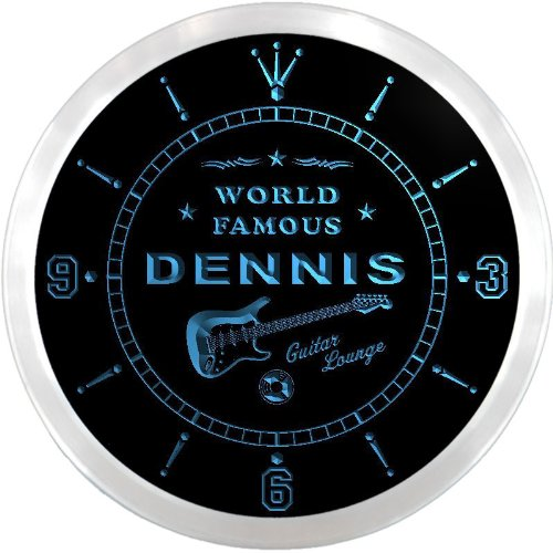 ncpf1355-b DENNIS Famous Guitar Lounge Beer Pub LED Neon Sign Wall Clock