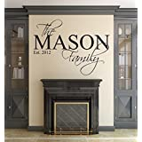 Wall Decal Letters Family Name Wall Decal Custom Personalized Monogram Est Year Living Room Decor (40 W H)for Living Room