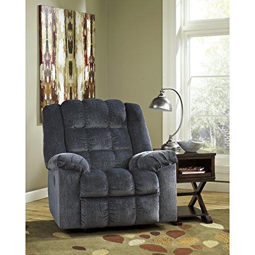 Flash Furniture Signature Design By Ashley Ludden Power Rocker Recliner In  Blue Twill