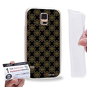 Case88 [Samsung Galaxy S5] Gel TPU Carcasa/Funda & Tarjeta de garantía - Art Aztec Assorted Design Black & Brown 1294