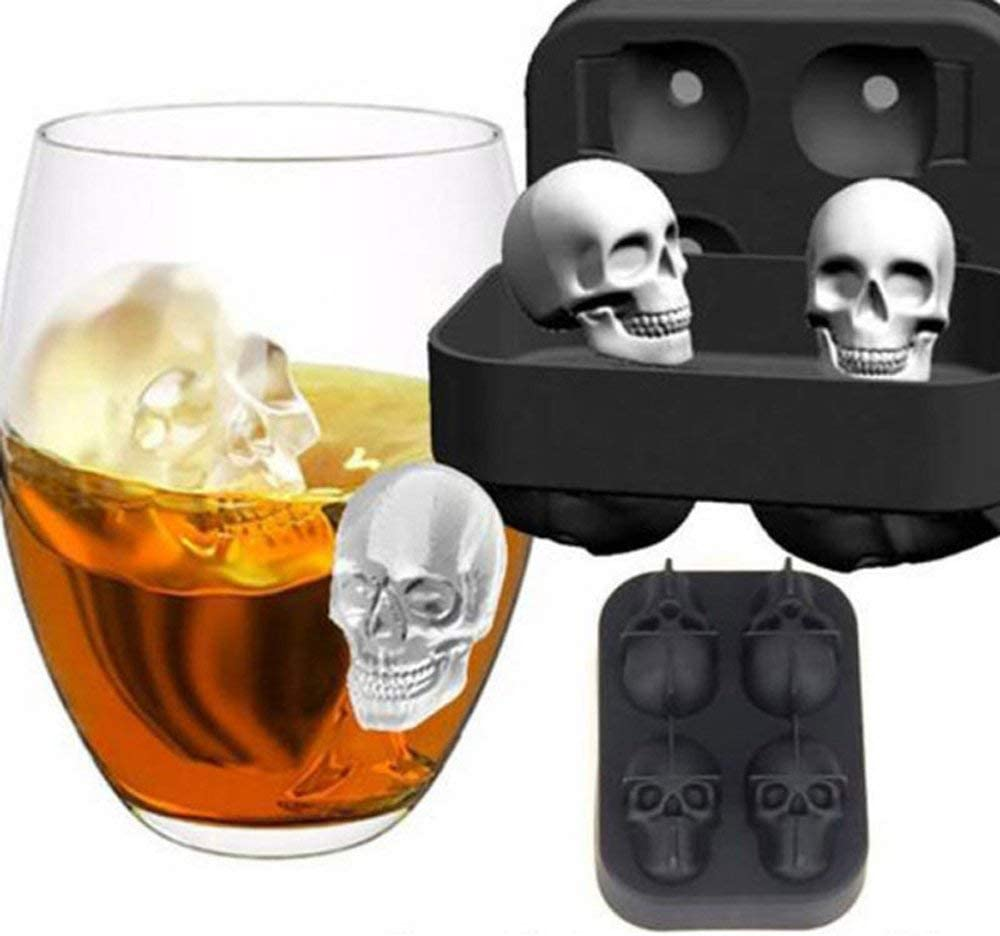 Flexible 12-Ice Cube Tray Mold Silicone Skull Shape Novelty Gift Black