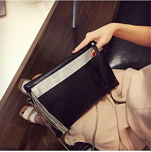 Large Handbag Evening with Detachable GGBAZZARA leather Wristlet Chain Womens atBtXx5