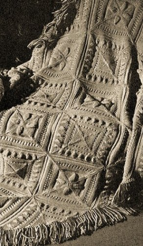 SCULPTURED BLOCK KNITTED AFGHAN - A Vintage 1947 Knitting Pattern ~ Kindle eBook Download (knit, knitted, blanket, throw, crafts, diy) ()